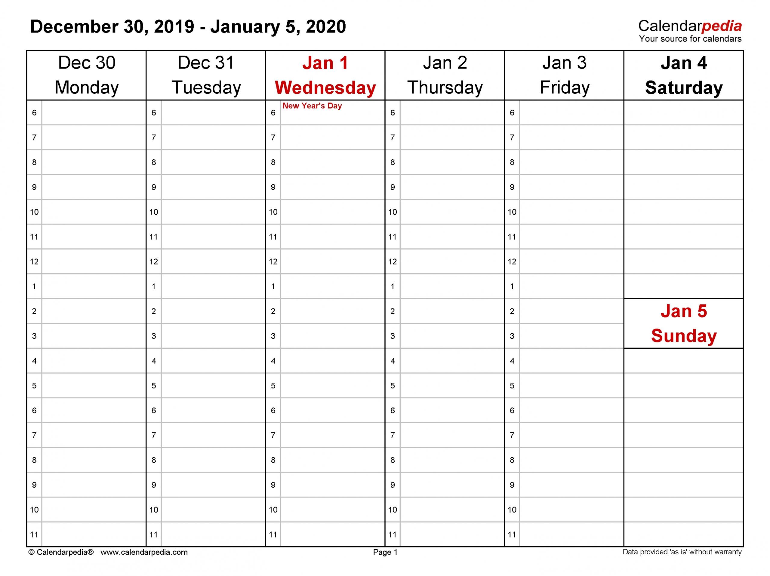 Weekly Calendars 2020 For Pdf - 12 Free Printable Templates pertaining to Calendar 2020 Week Wise In Window