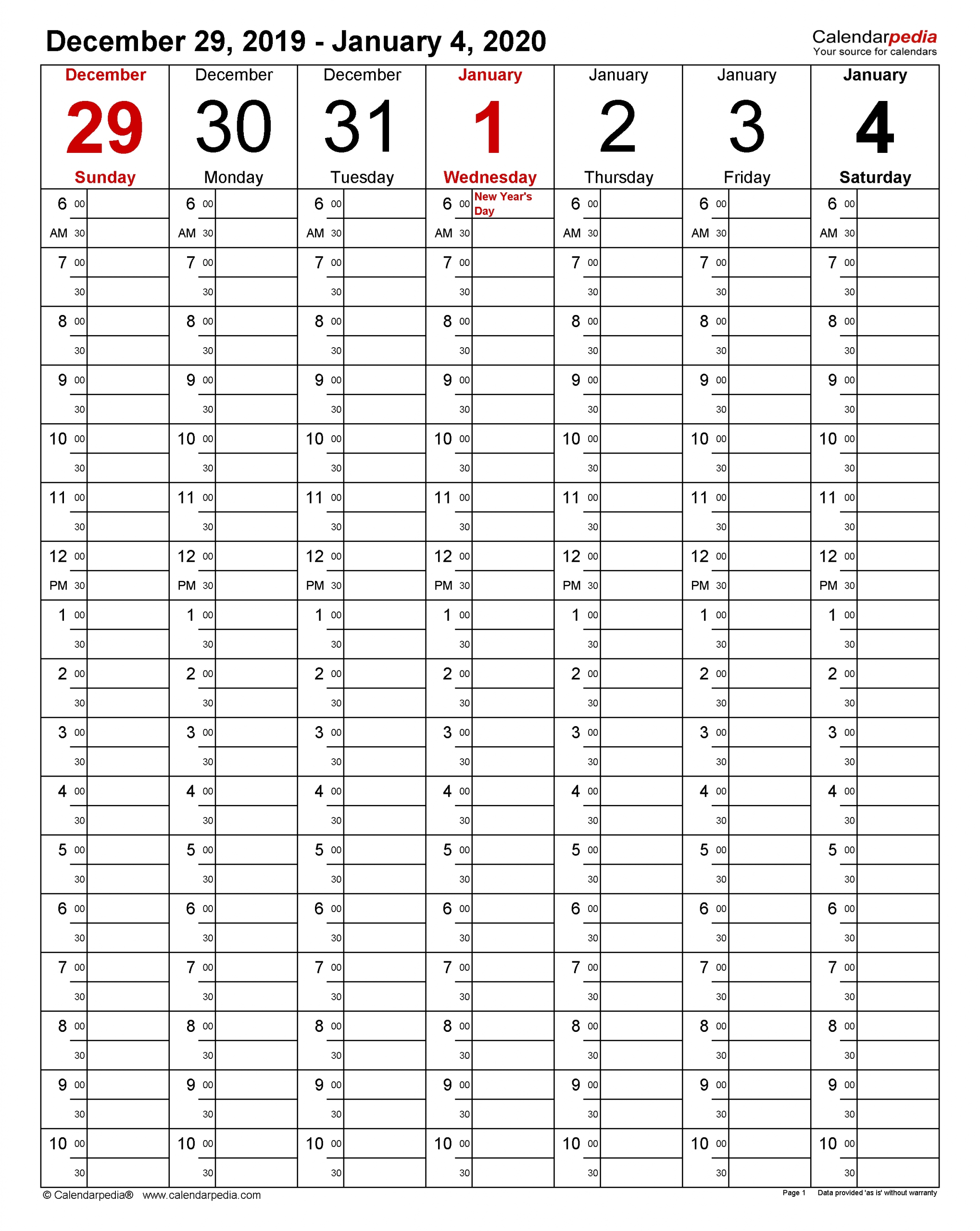 Weekly Calendars 2020 For Pdf - 12 Free Printable Templates regarding Year Calendar 2020 With Space To Write Int