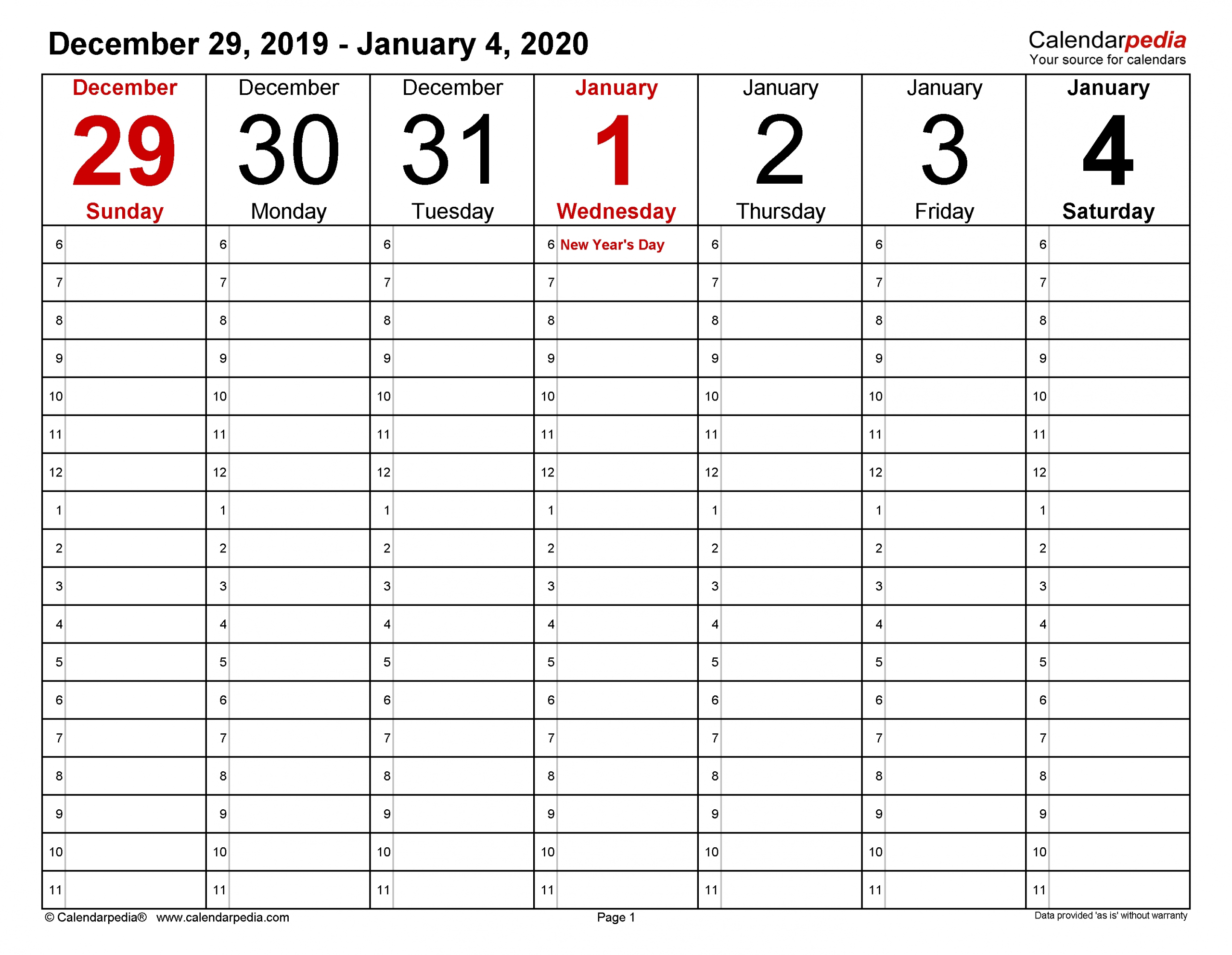 Weekly Calendars 2020 For Word - 12 Free Printable Templates intended for 30 Day Blank Calendar For Bills Due
