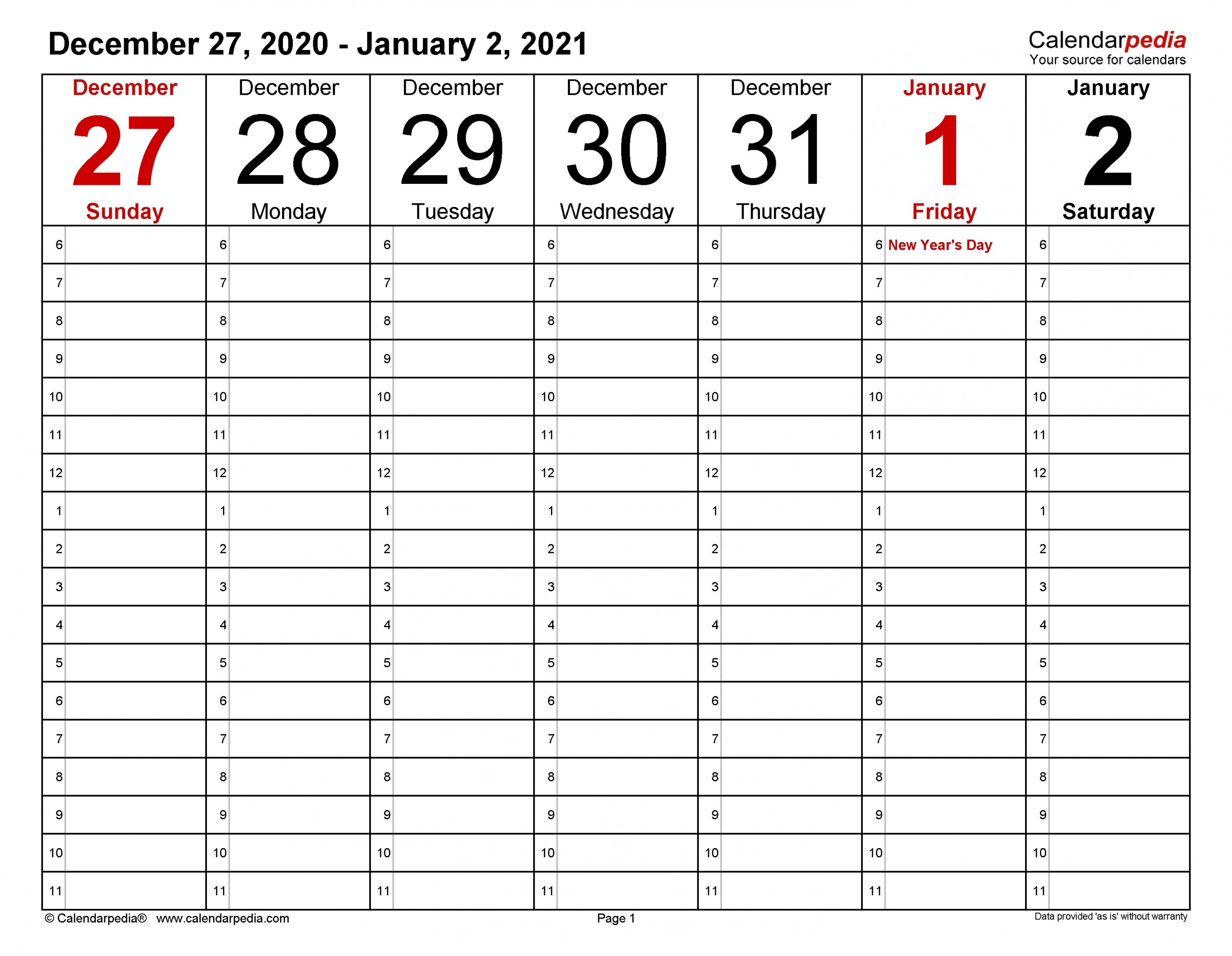 Weekly Calendars 2021 For Excel - 12 Free Printable Templates