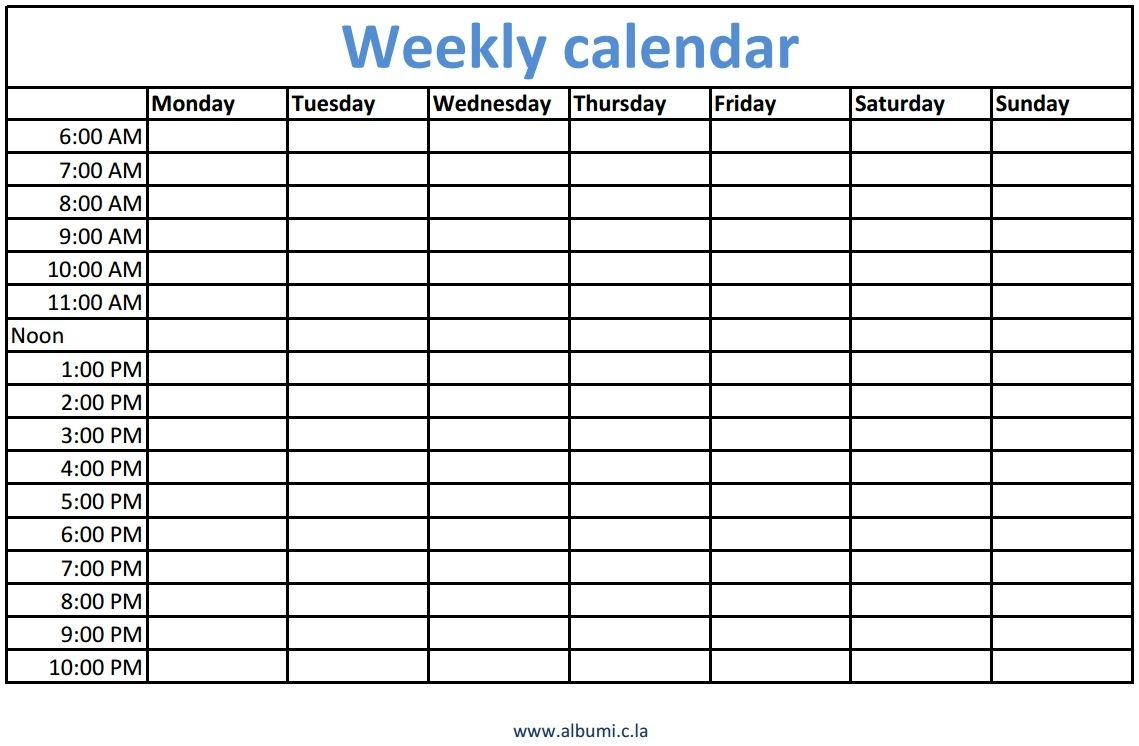 Weekly Calendars With Times Printable | Calendars - Kalendar