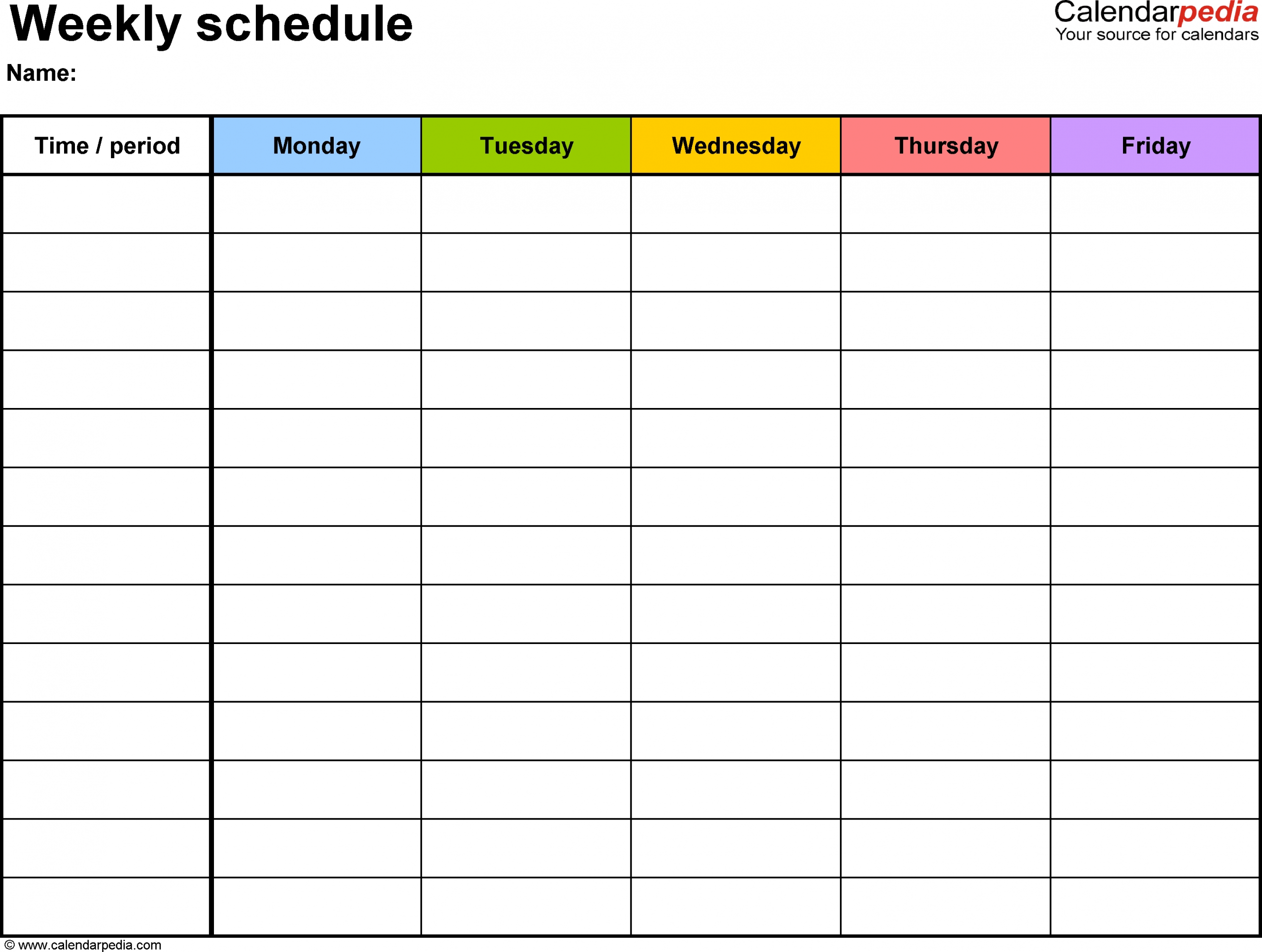 Weekly Schedule Template For Word Version 1: Landscape, 1 with Monsay Through Friday Calneder With Times