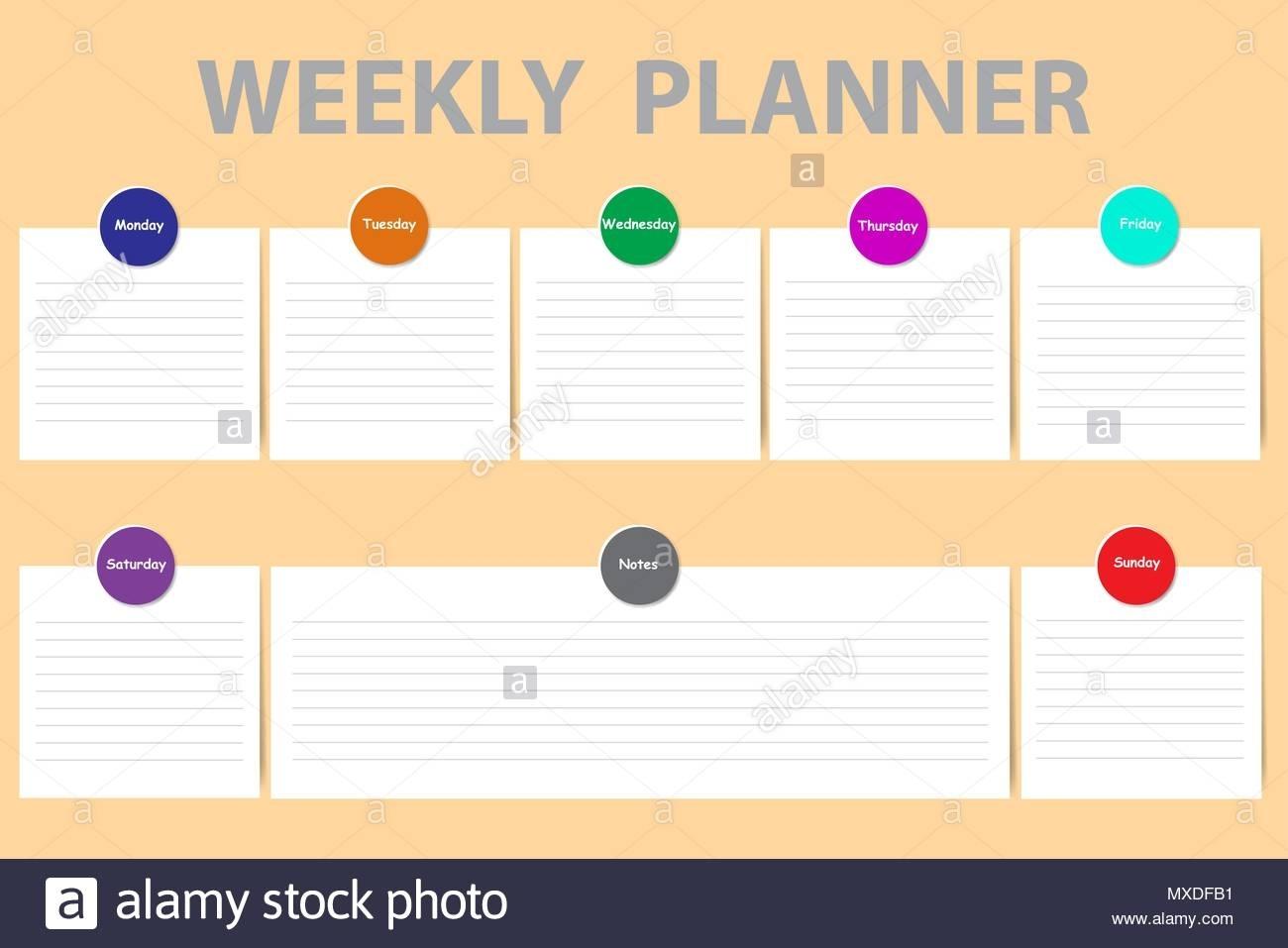 Weekly Schedule With A Chart For Notes And White Charts With