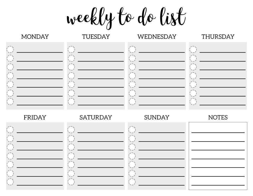 Weekly To Do List Printable Checklist Template | Paper Trail