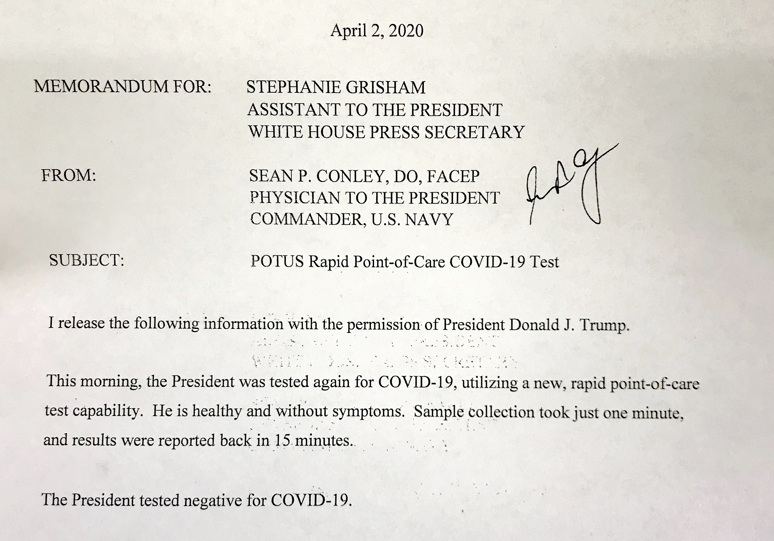 White House Doctor: Trump Again Tests Negative For Covid-19