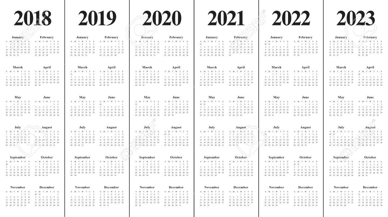 Year 2018 2019 2020 2021 2022 2023 Calendar Vector Design Template,.. with 2019 2020 2021 2022 2023 Year Calendar Printable