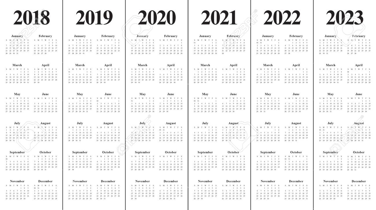 Year 2018 2019 2020 2021 2022 2023 Calendar Vector Design Template,.. with Calendars 2019 2020 2021 2022 2023