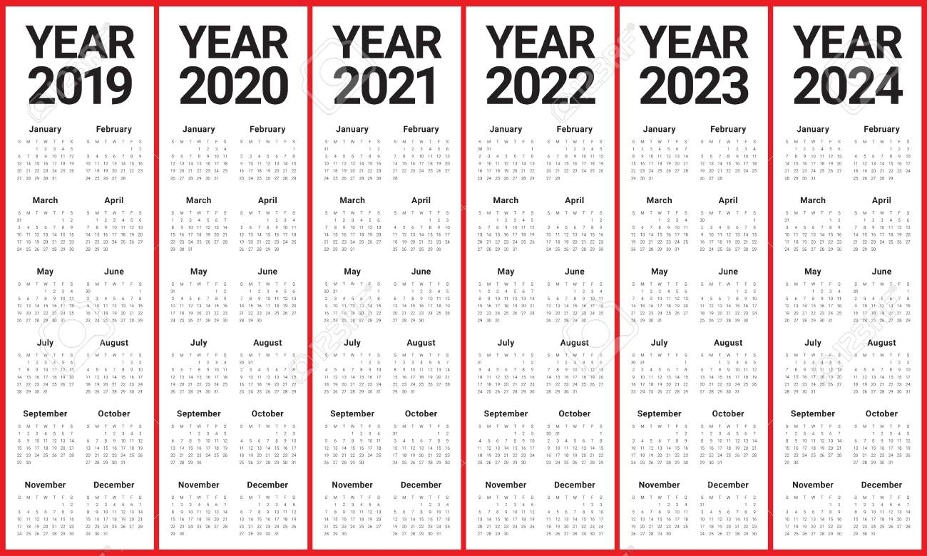 Year 2019 2020 2021 2022 2023 2024 Calendar Vector Design Template,.. for Year Calendar 2019 2020 2021 2022 2023 2024