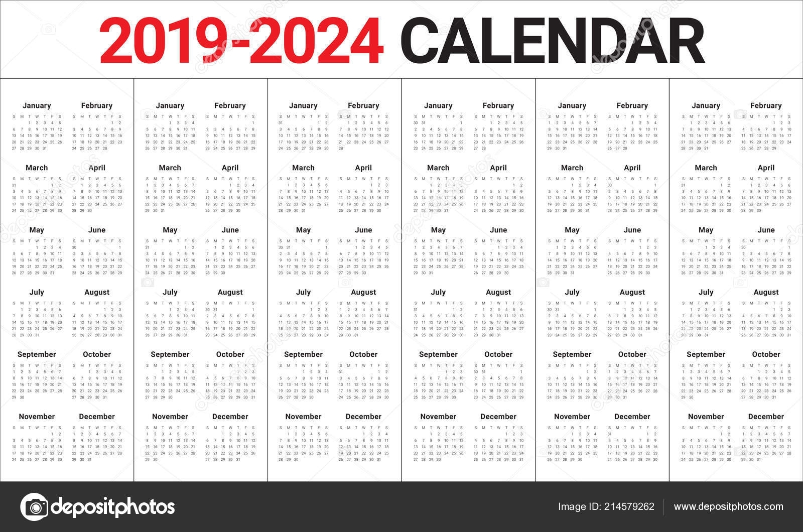Year 2019 2020 2021 2022 2023 2024 Calendar Vector Design Template, Simple  And Clean Design 214579262 in Year Calendar 2019 2020 2021 2022 2023 2024