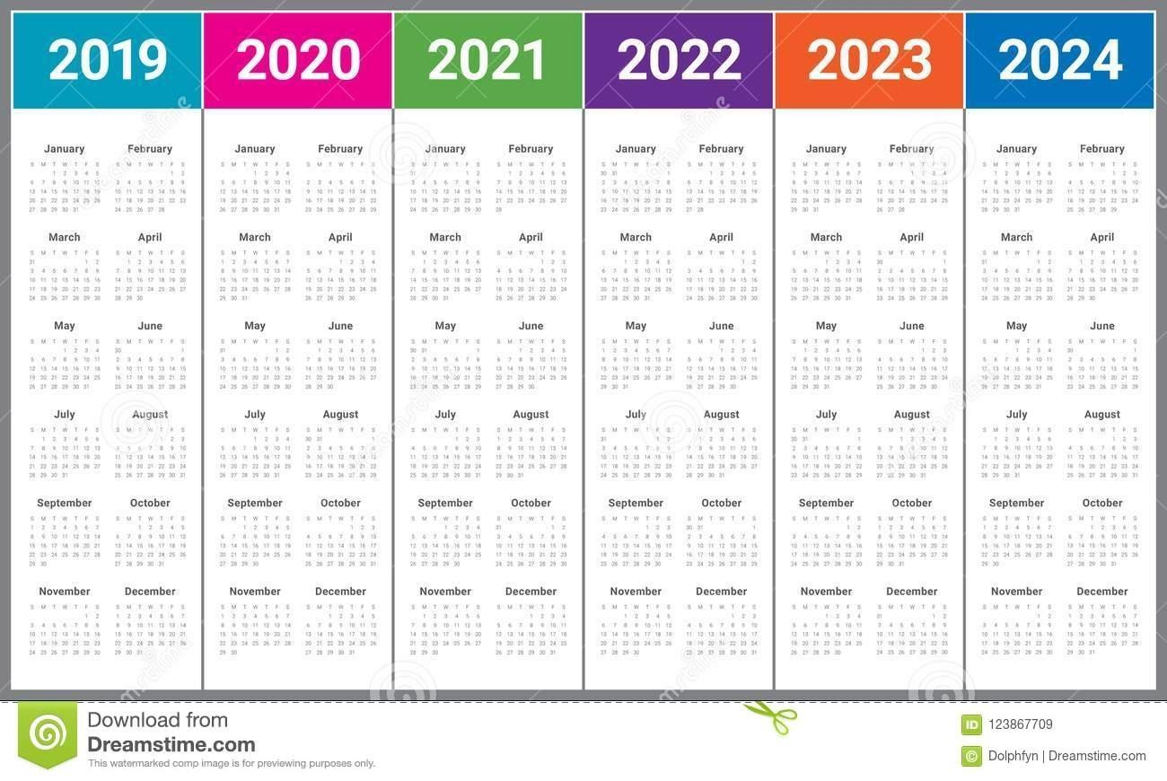 Year 2019 2020 2021 2022 2023 2024 Calendar Vector Design within 2019 2020 2021 2022 2023 Year Calendar Printable