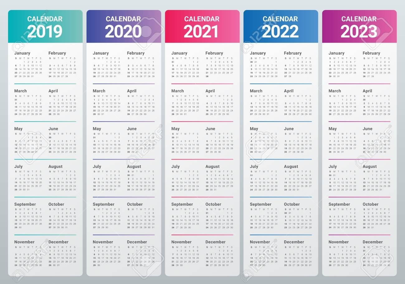 Year 2019 2020 2021 2022 2023 Calendar Vector Design Template,..