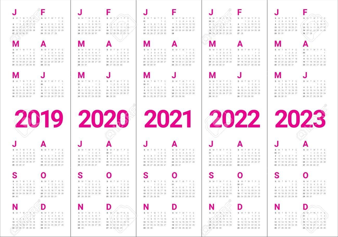 Year 2019 2020 2021 2022 2023 Calendar Vector Design Template,.. regarding Calendars 2019 2020 2021 2022 2023
