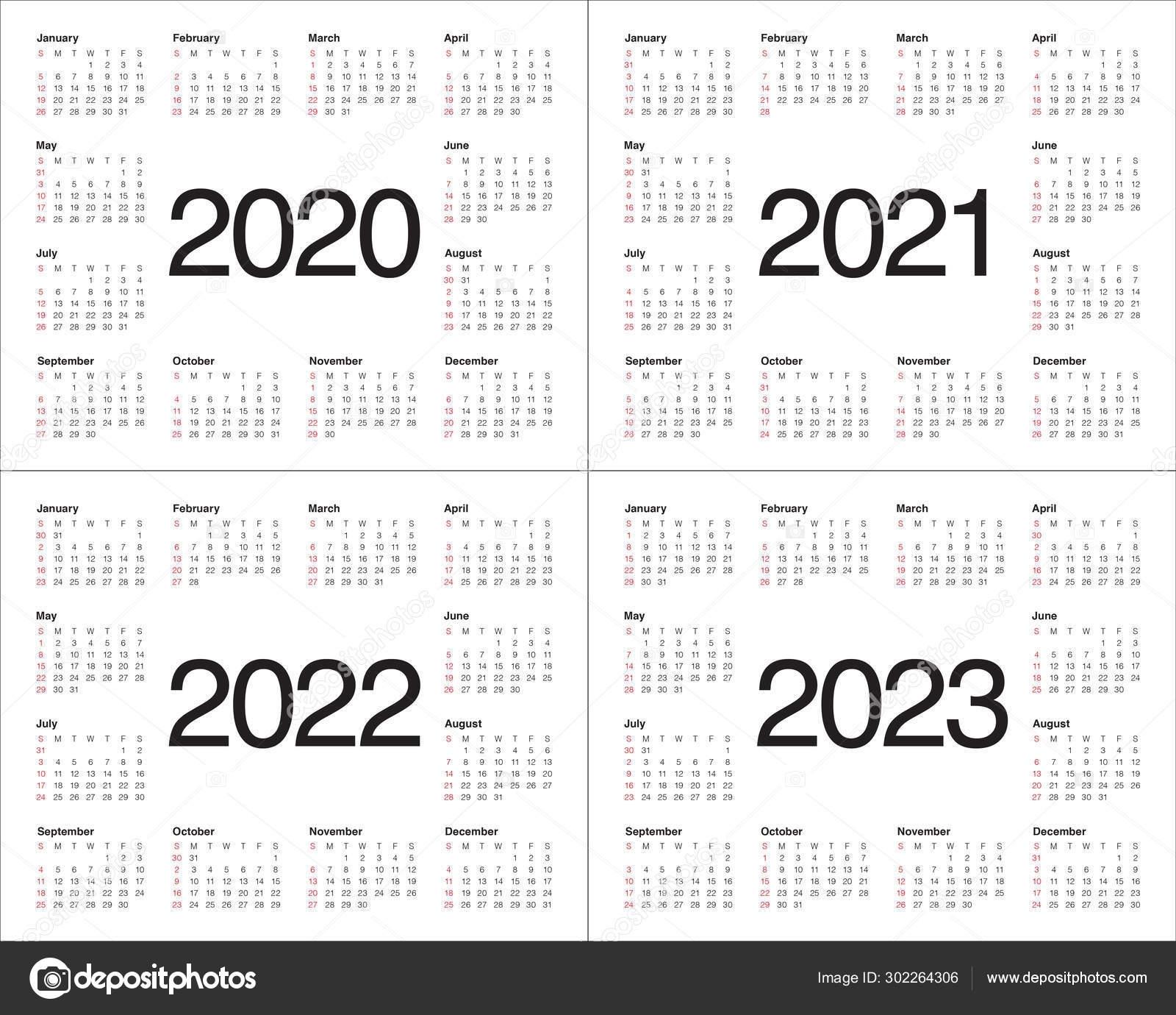 Year 2020 2021 2022 2023 Calendar Vector Design Template 302264306 with regard to 2019 2020 2021 2022 2023 Year Calendar Printable