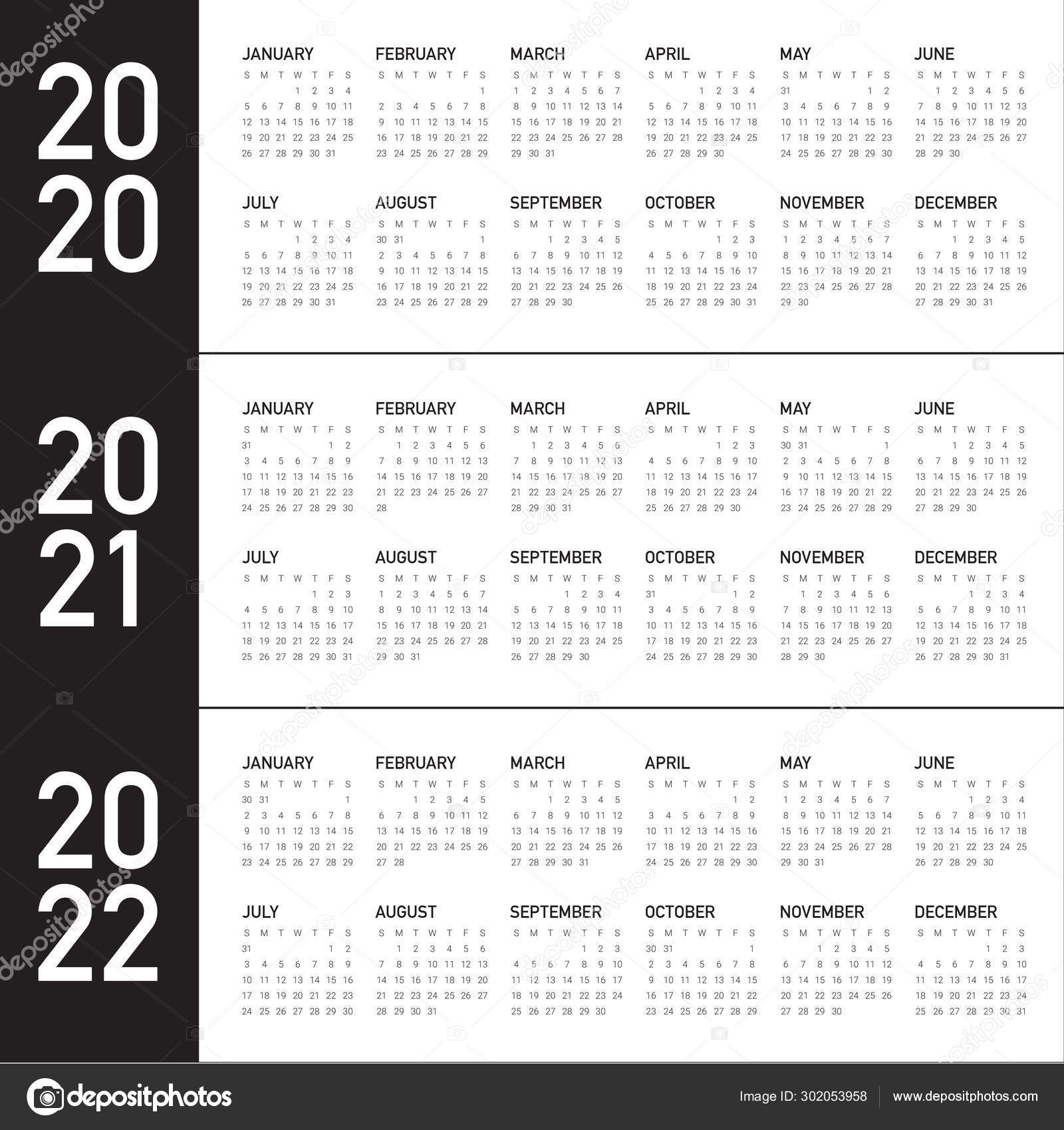 Year 2020 2021 2022 Calendar Vector Design Template 302053958