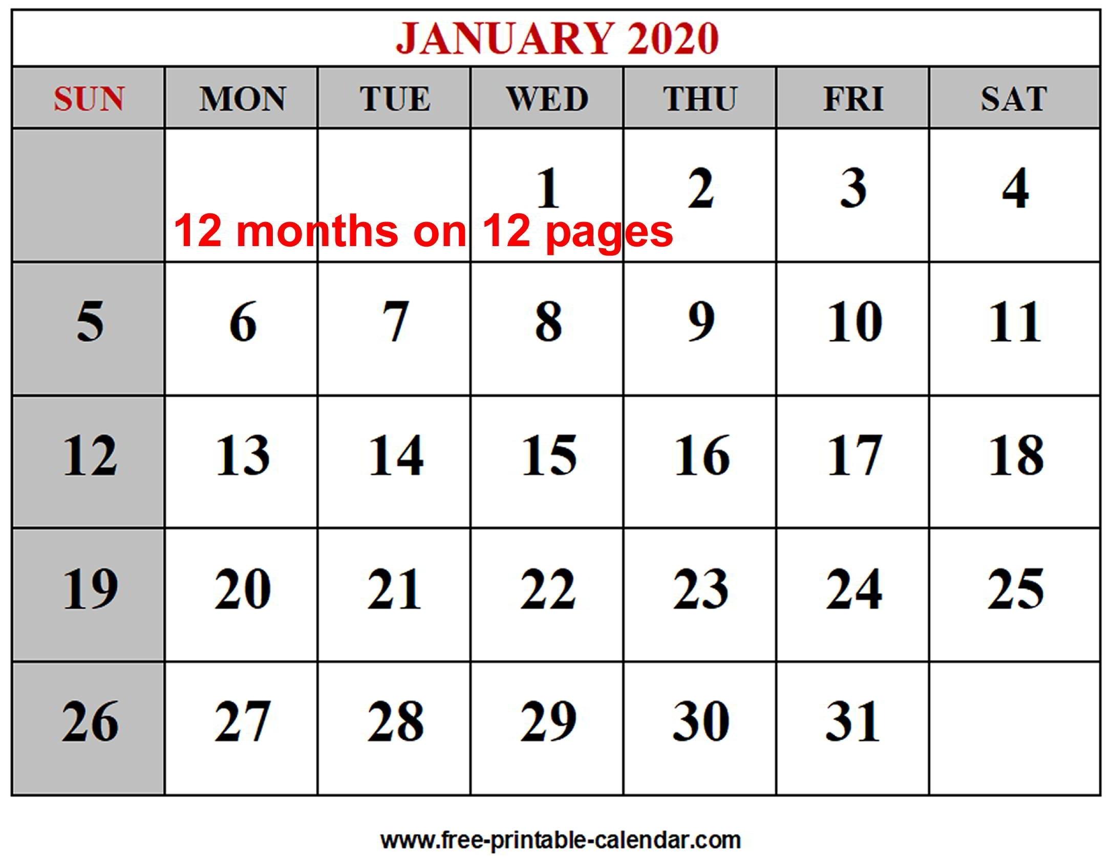 Year 2020 Calendar Templates - Free-Printable-Calendar in 2020 12 Month Calendar Printable