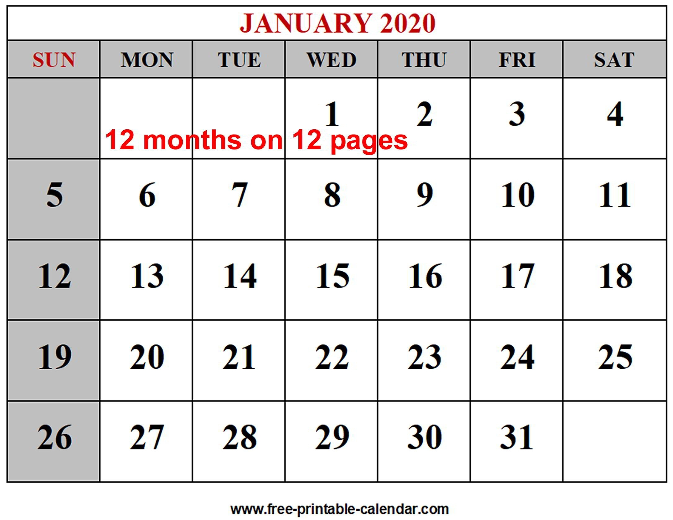 Year 2020 Calendar Templates - Free-Printable-Calendar pertaining to 2020 Free 12 Month Printable Monthly Calendar