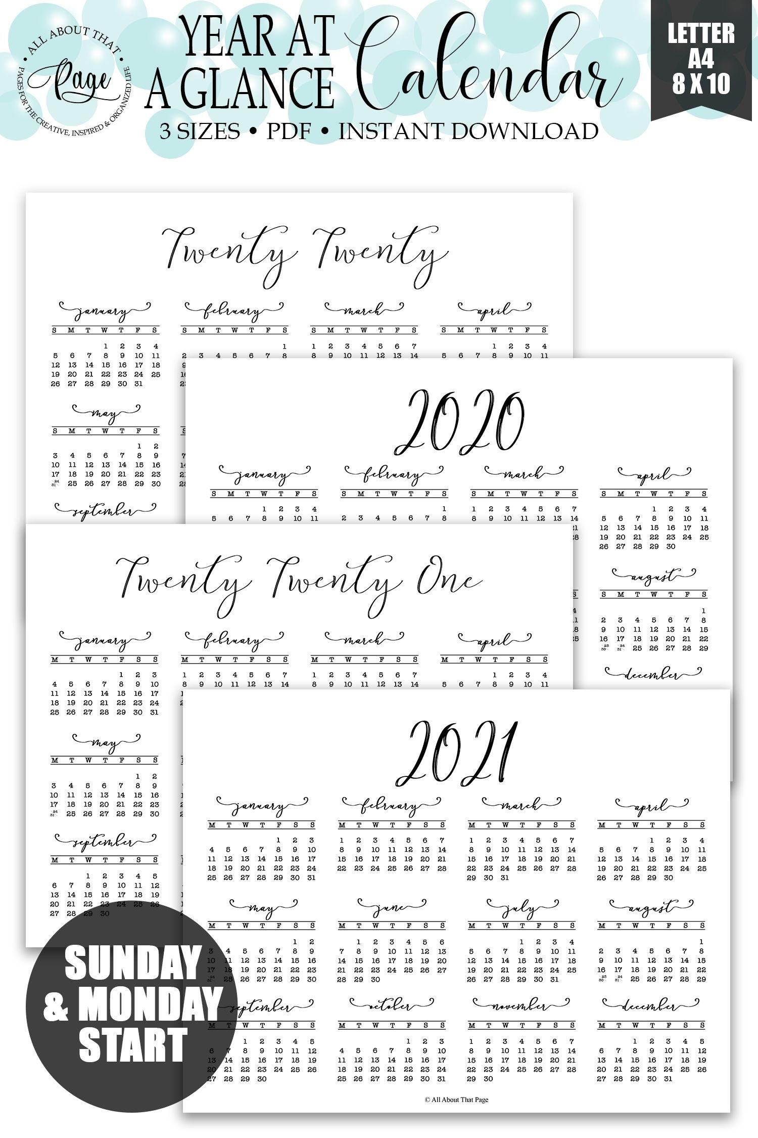 Year At A Glance Calendar, 2020, 2021, Twenty Twenty, Twenty in 8 X 10 Calendar 2020