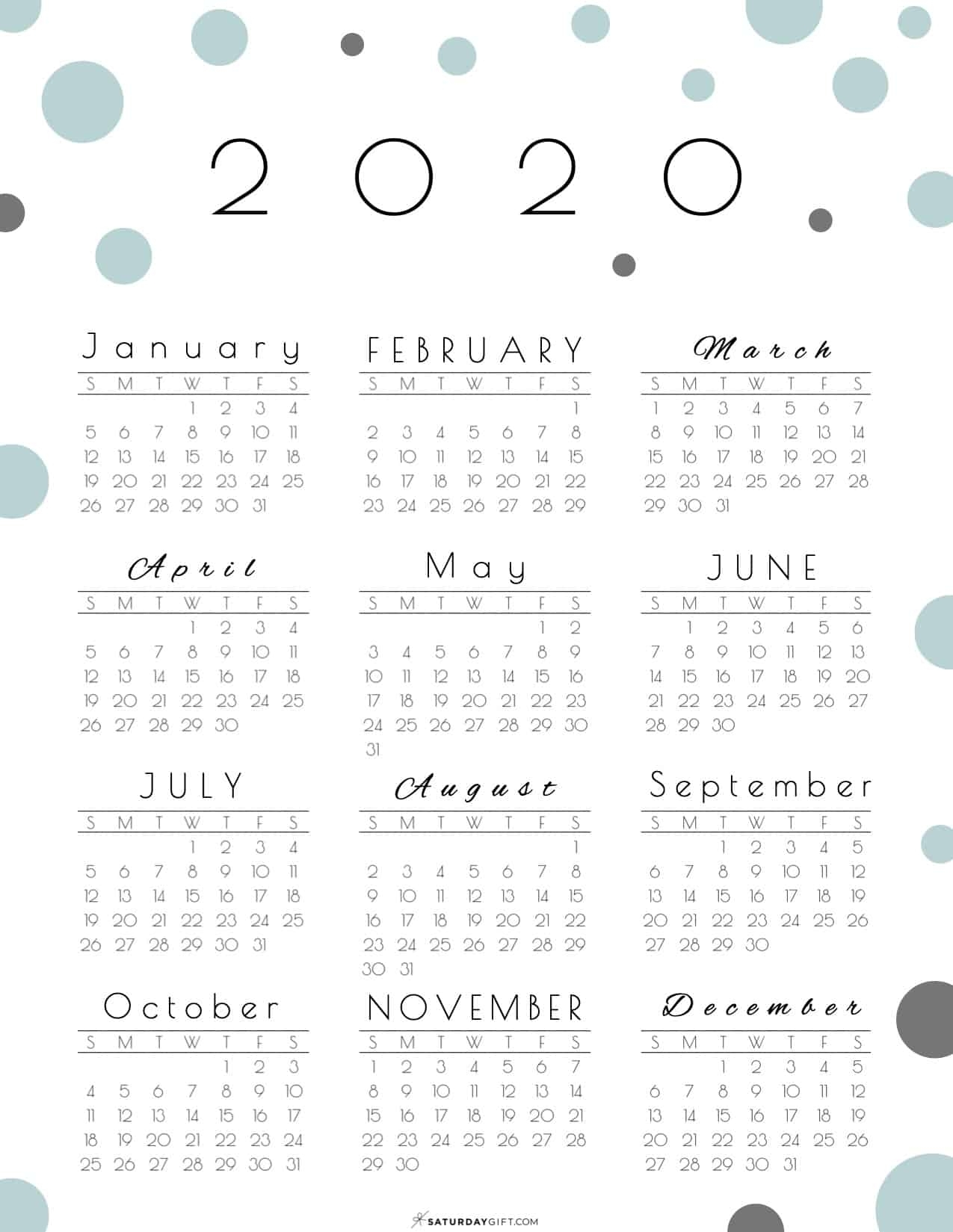 Year At A Glance Calendar 2020 - Pretty (And Free!) Printable