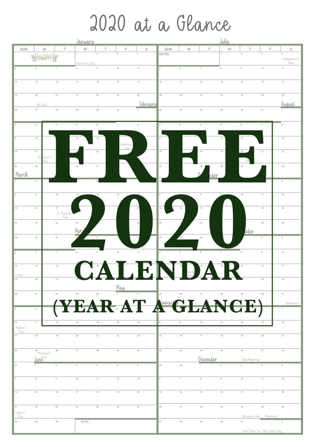 Year At A Glance Free Printable Calendar | All Things Thrifty for 2020 Printable Yearly Colouring Calendar