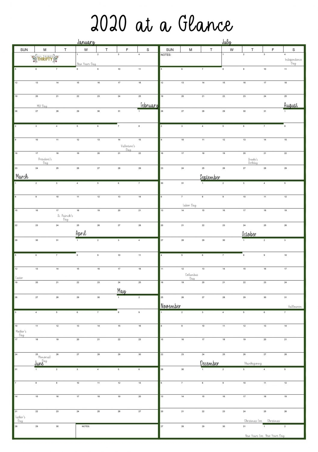 Year At A Glance Free Printable Calendar | All Things Thrifty for Free Printable Year At A Glance Calendars No Download 2020