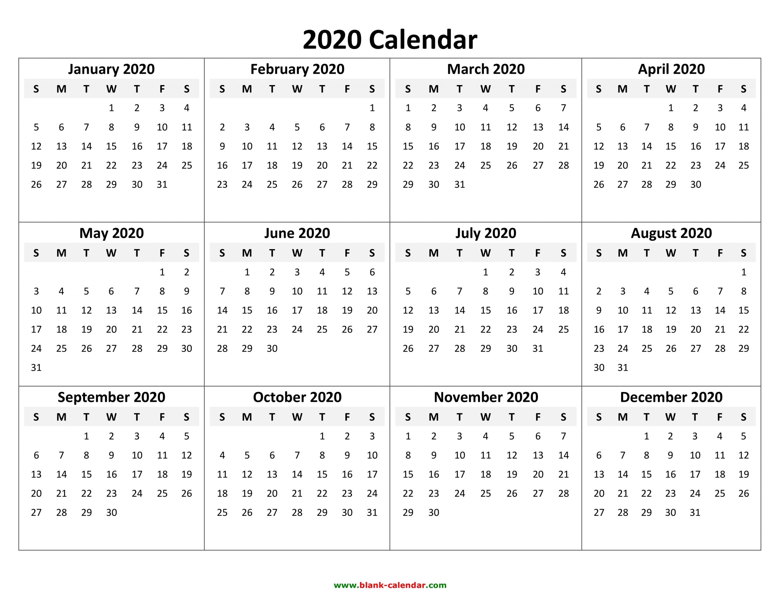 Yearly Calendar 2020 | Free Download And Print pertaining to Monday To Sunday Calendar 2020 Yearly