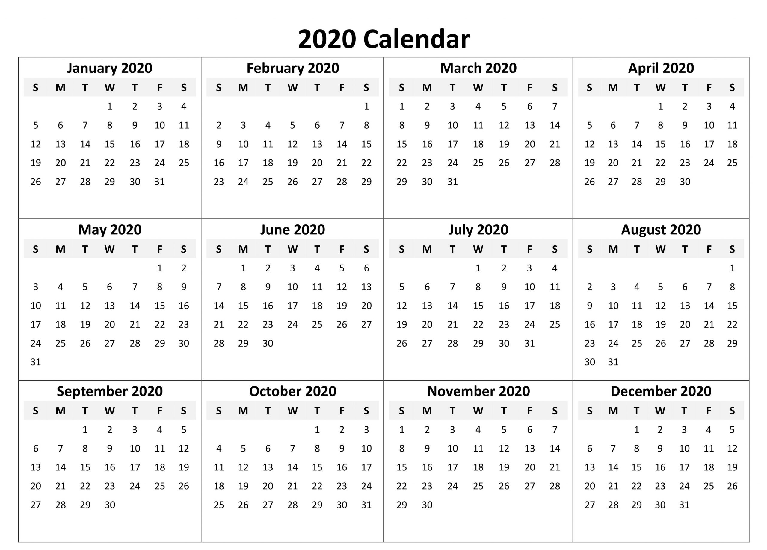 Yearly Calendar 2020 Free Download | Printable Yearly