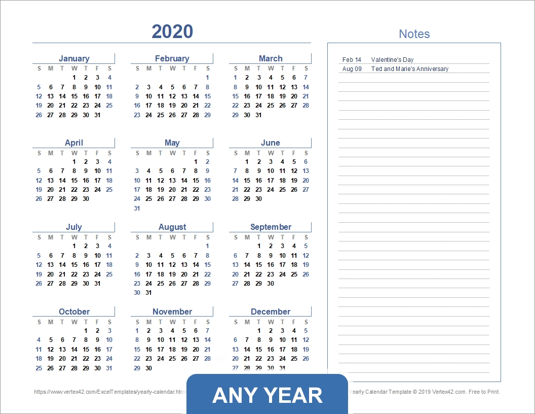 Yearly Calendar Template For 2020 And Beyond inside Printable Chalander With Space To Right For 2020