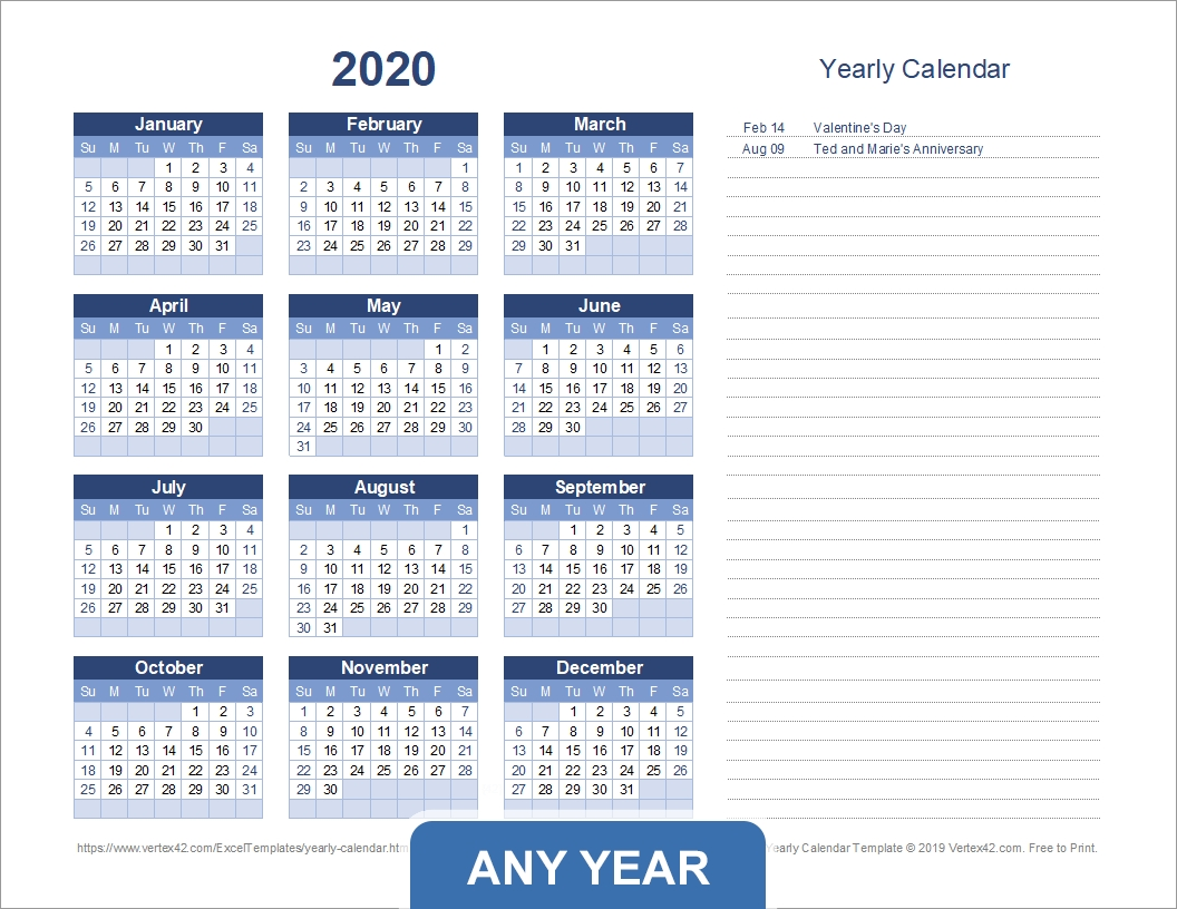 Yearly Calendar Template For 2020 And Beyond throughout Printable Chalander With Space To Right For 2020