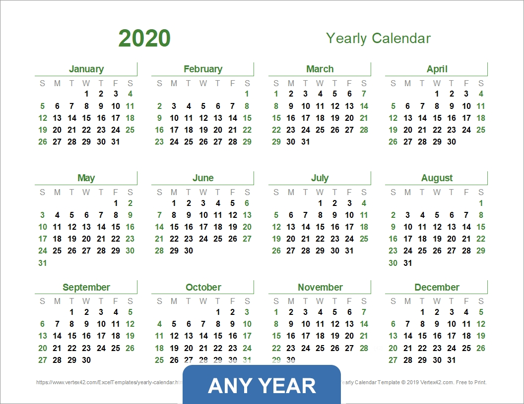 Yearly Calendar Template For 2020 And Beyond within 2020 Calendar Landscape Year At A Glance