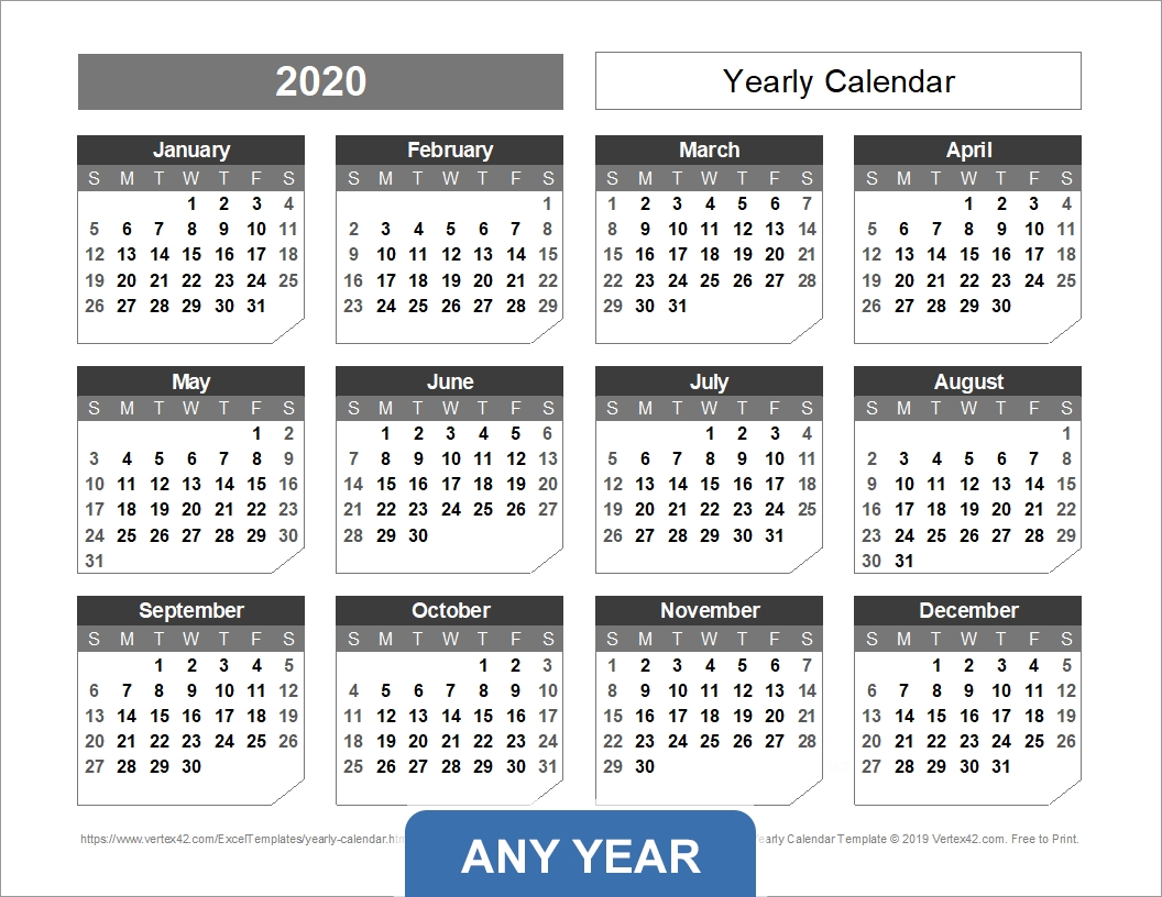 Yearly Calendar Template For 2020 And Beyond within Monday To Sunday Calendar 2020 Yearly