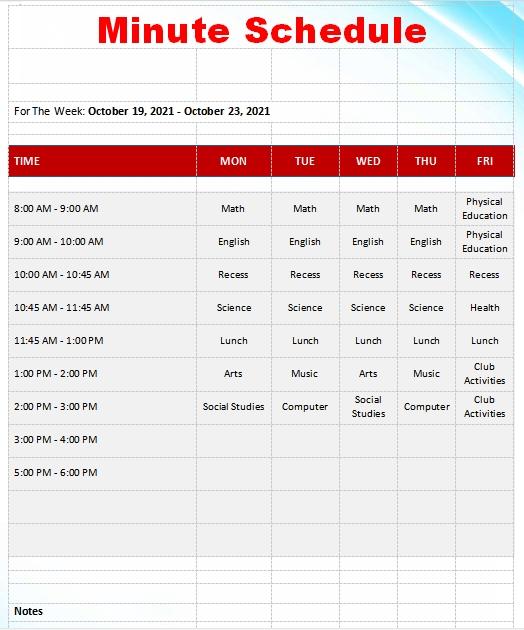 10+ 15 Minute Schedule Template | Template Business Psd