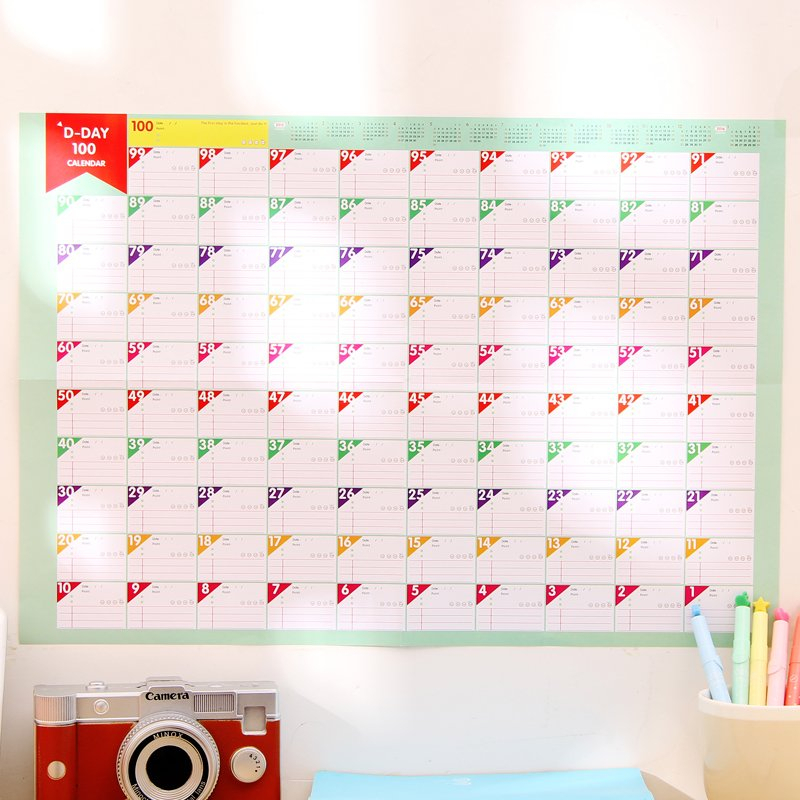 100 Day Countdown Calendar Learning Schedule Struggle