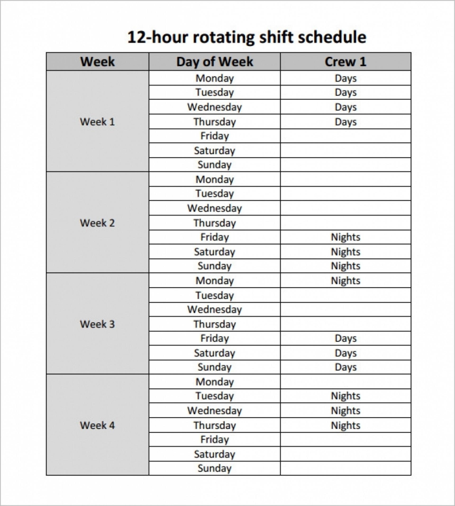 12 Hour Schedule Template | Calendar Template Printable