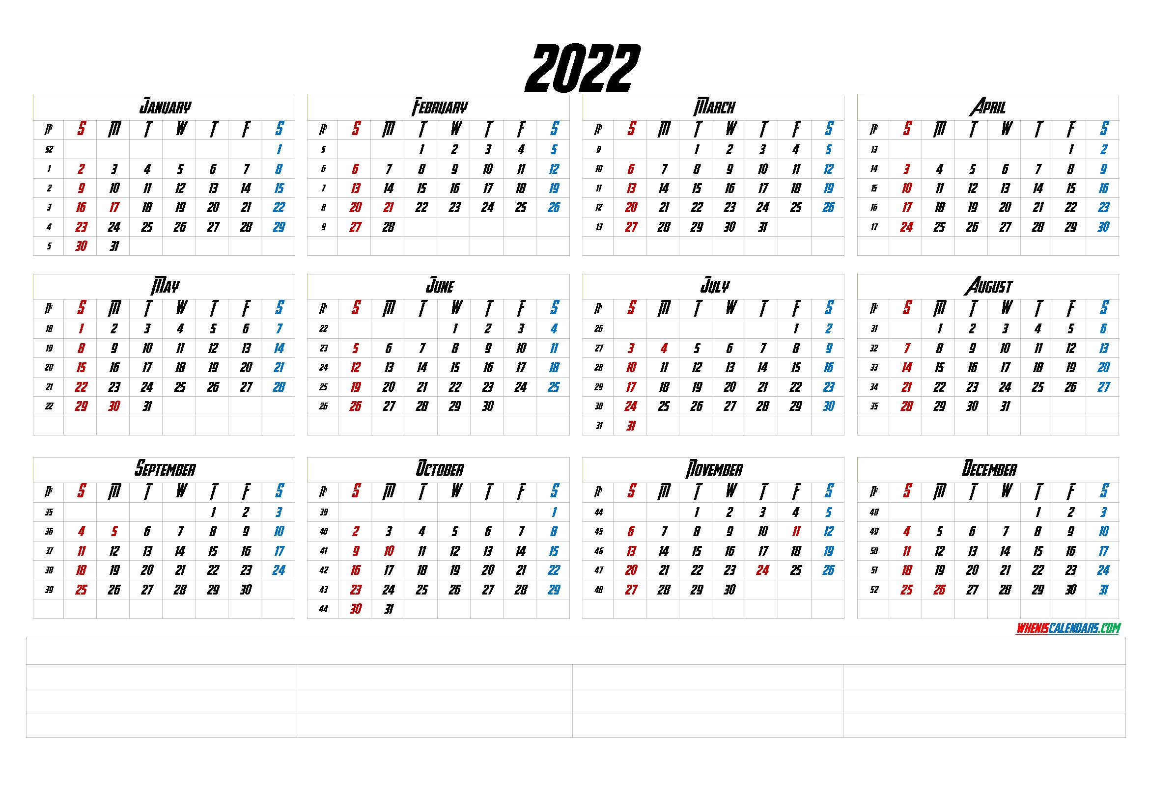 12 Month Calendar Printable 2022 (6 Templates) - Free
