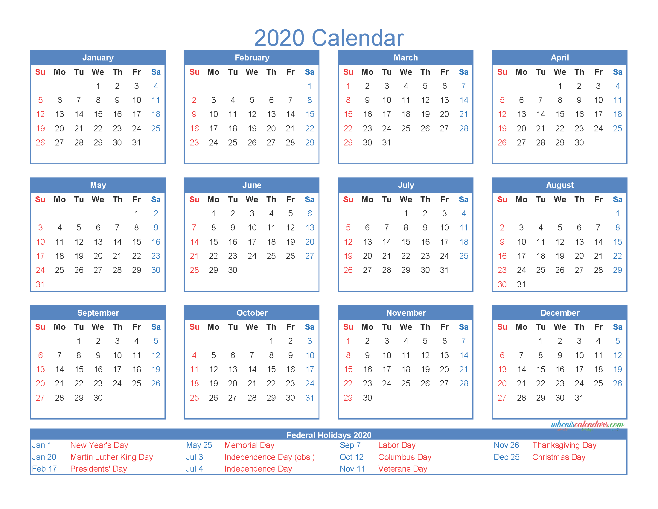 12 Month Printable Calendar 2020 With Holidays - Free 2020