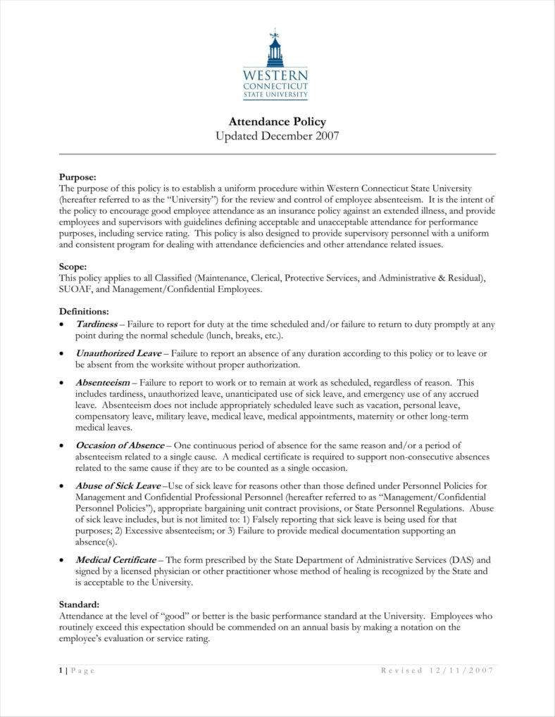 13+ Attendance Policy Templates - Free Pdf Format Download