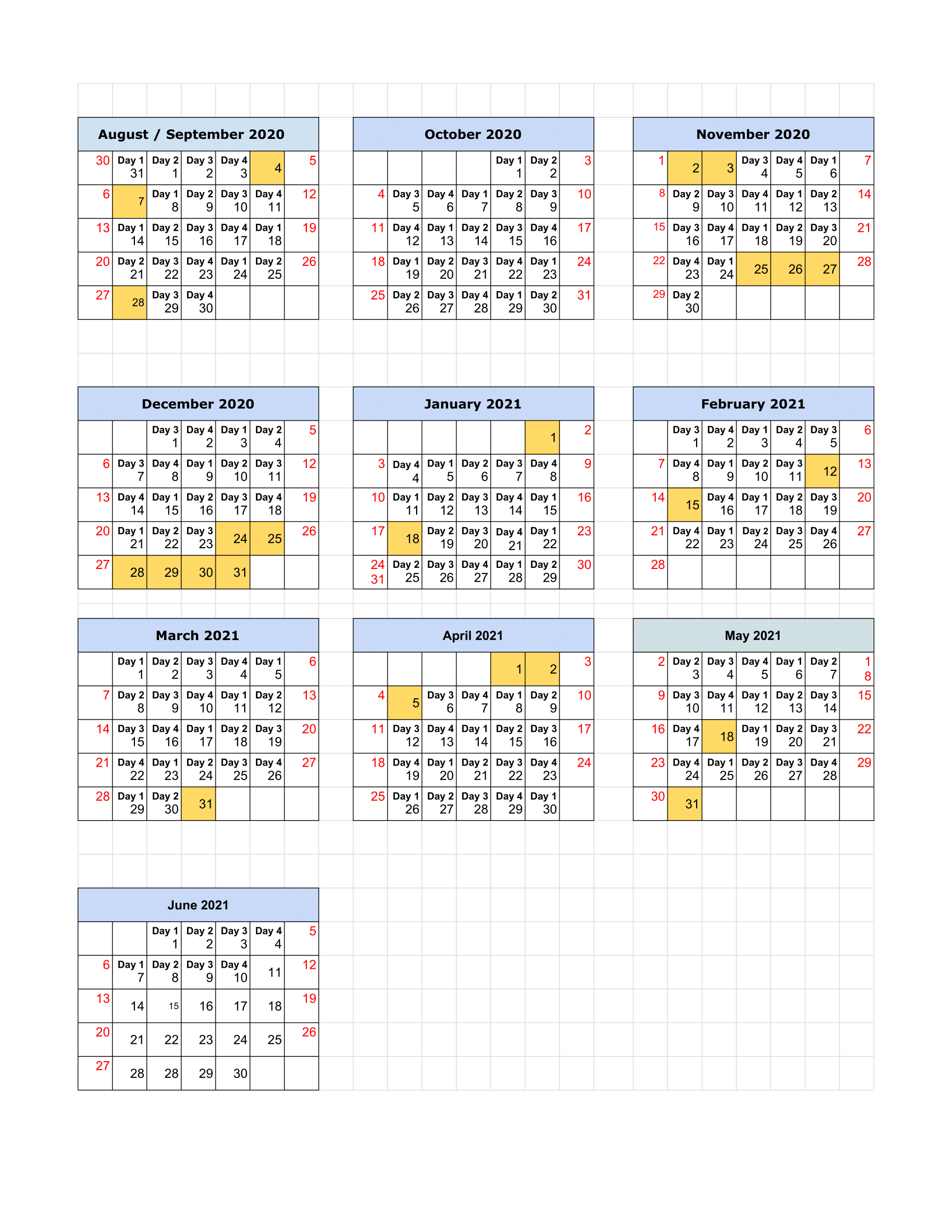 13 Period Calendar 2021 : 2021 Fiscal Period Calendar 4 4
