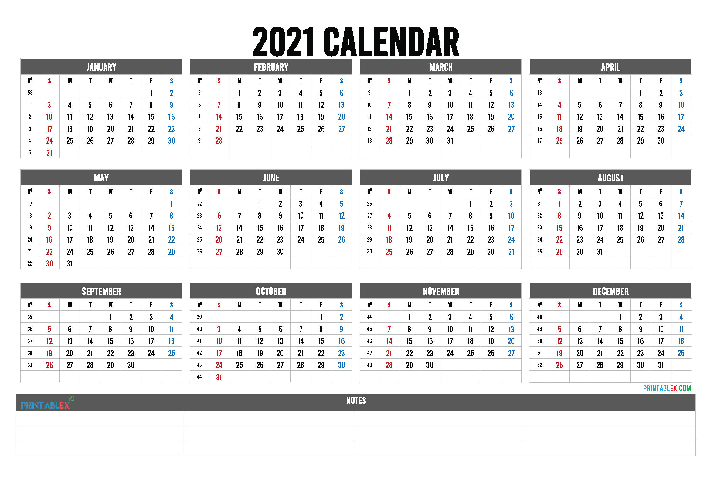 20+ Calendar 2021 With Week Numbers - Free Download Printable Calendar Templates ️