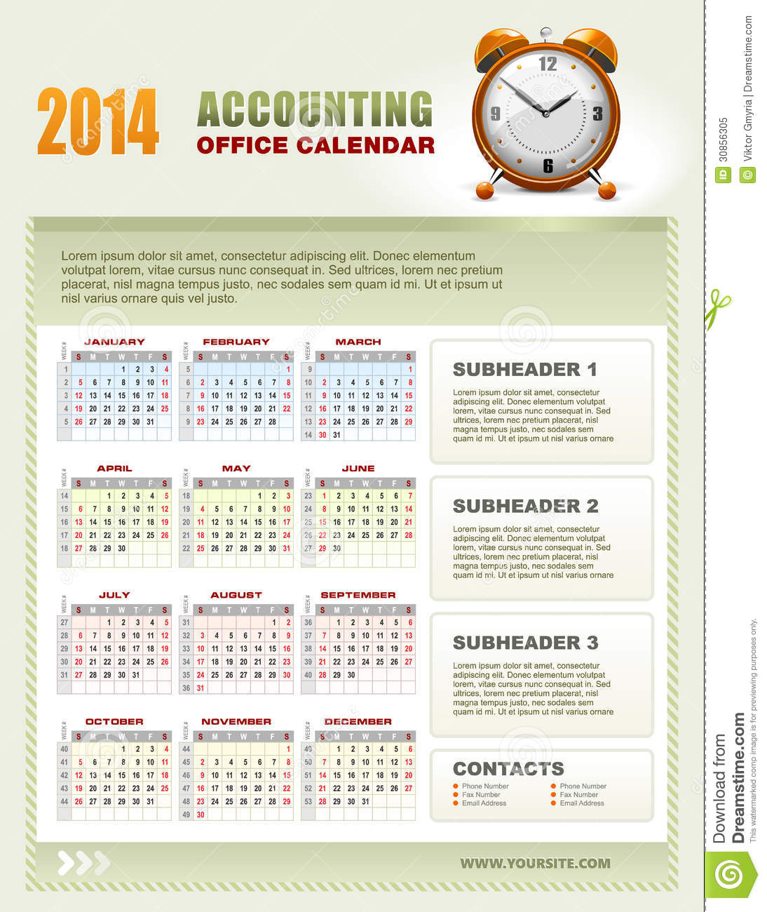 2014 Accounting Calendar With Week Numbers Vector Stock