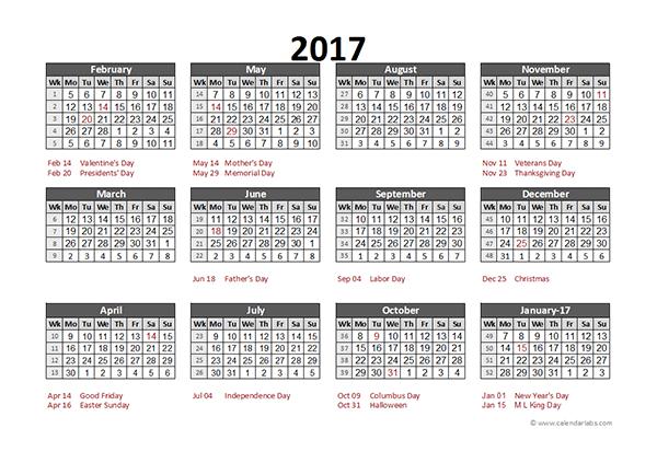 2017 Accounting Calendar 5-4-4 - Free Printable Templates