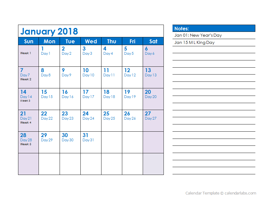 2018 Julian Date Calendar - Free Printable Templates