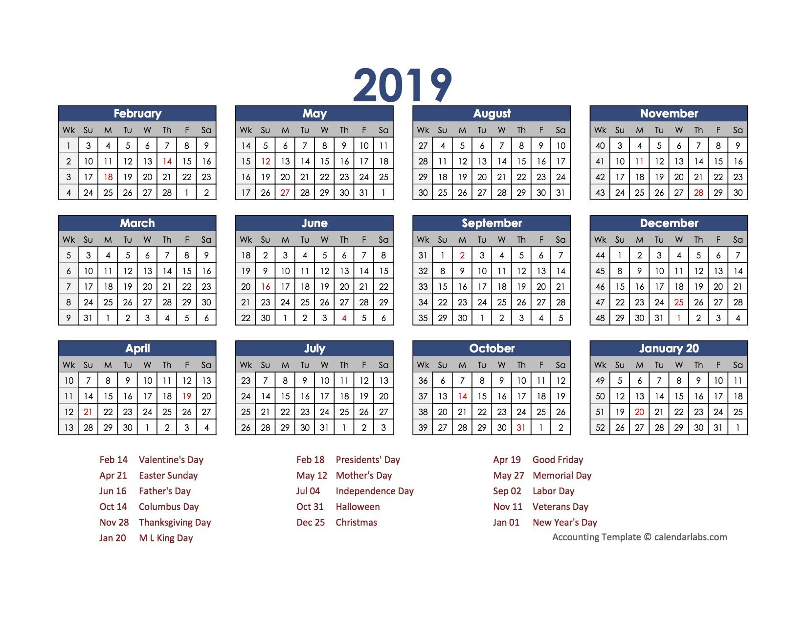 2019 Accounting Calendar 4-5-4 - Free Printable Templates