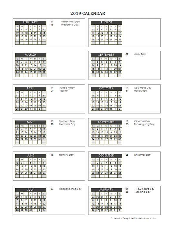 2019 Accounting Close Calendar 4-4-5 - Free Printable