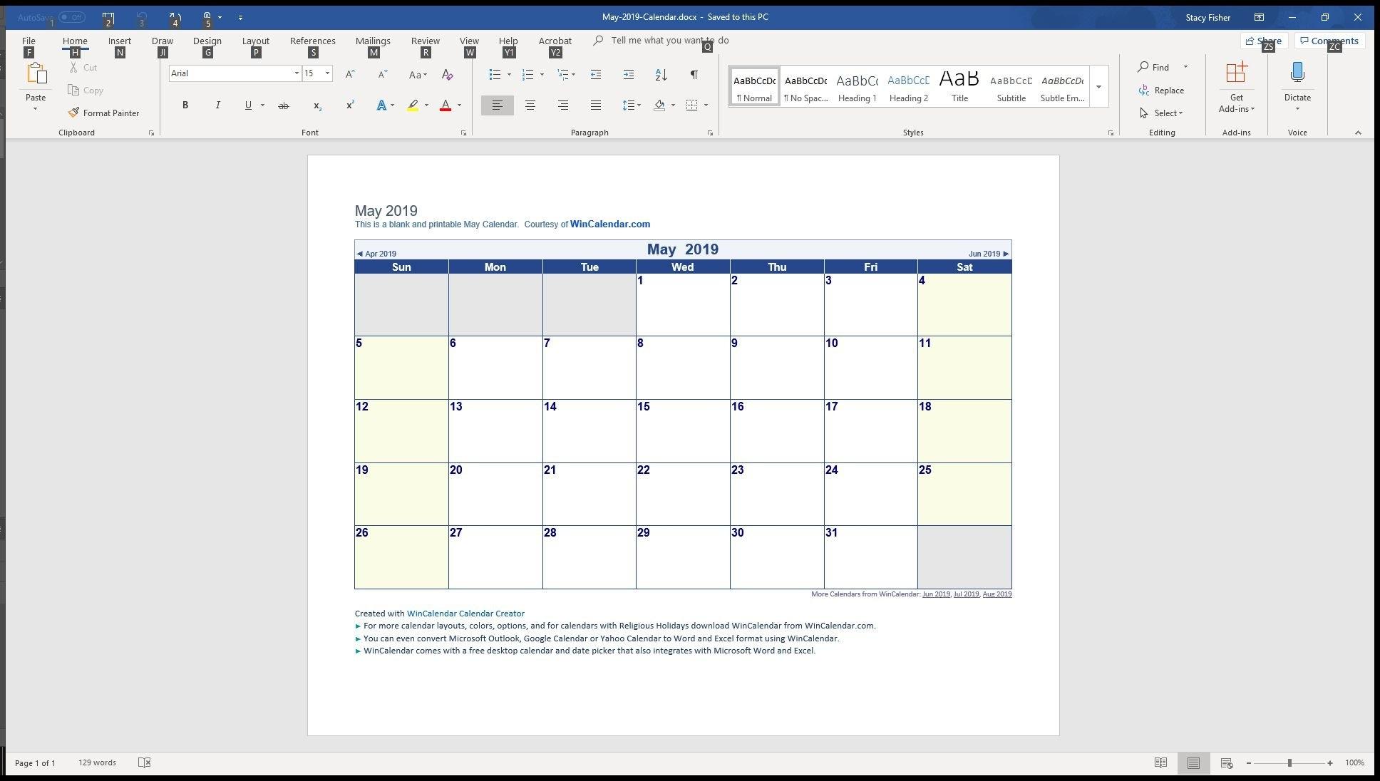 2019 Calendar 4-5-4 :-Free Calendar Template
