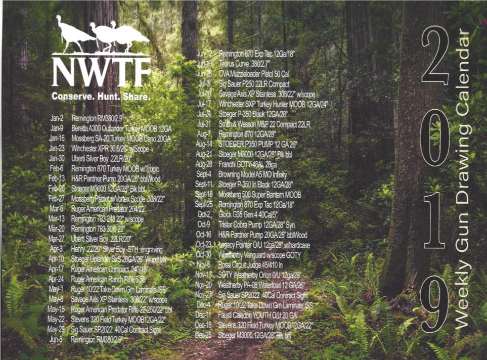 2019 Calendar - 52 Week Draw - Nwtf Huachuca Gould'S