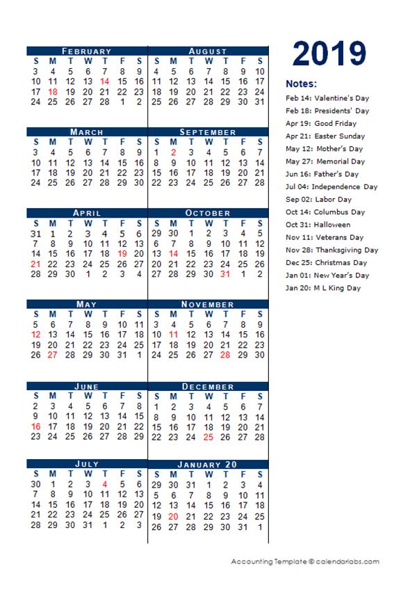 2019 Fiscal Period Calendar 4-4-5 - Free Printable Templates