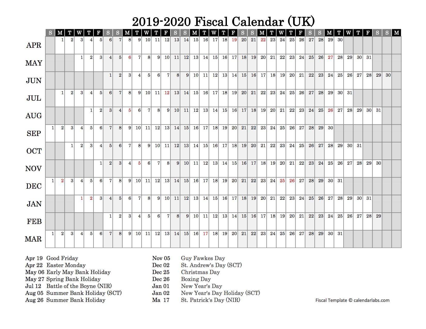 2019 Fiscal Year Calendar - Free Printable Templates