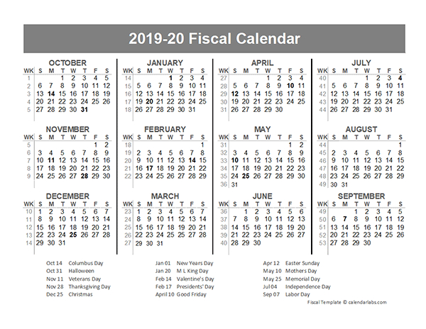 2019 Fiscal Year Quarters Template - Free Printable Templates