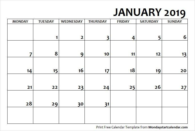 2019 January Calendar Monday Start | August Calendar