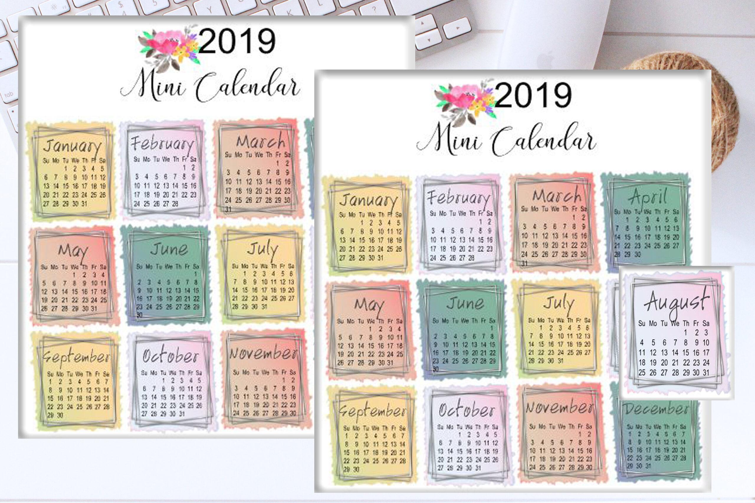 2019 Mini Calendar Stickers / Small Calendar Stickers